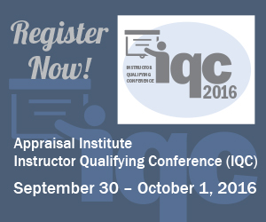 Save the date for the 2016 Appraisal Institute IQC