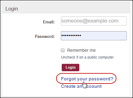 Click the Forgot Password Link